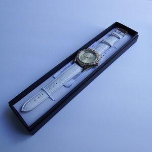 NIB Manhattan by Croton Crystal Leather Watch